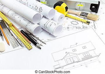 épület munka, eszközök, alaprajzok, építészeti
