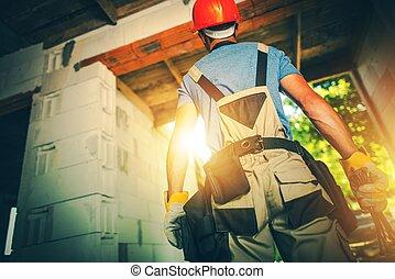 épület, munka, szállító