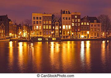 épület, németalföld, amszterdam, éjszaka