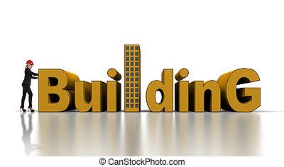 épület, nő, rámenős