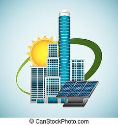épület, nap-, -energy, környezet, kitakarít, bizottság