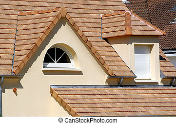 épület, noha, új, tető