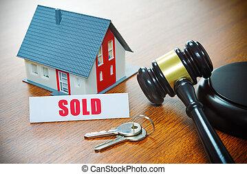 épület, noha, egy, gavel., kizárás, ingatlan tulajdon, kiárusítás, árverés, ügy, vásárlás