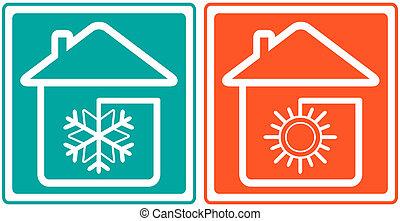 épület, noha, hópehely, és, sun., otthon