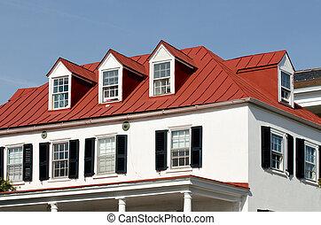 épület, noha, piros, tető, és, tetőablak, windows