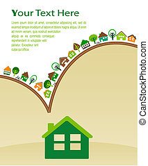 épület, noha, zöld, eco, motívum