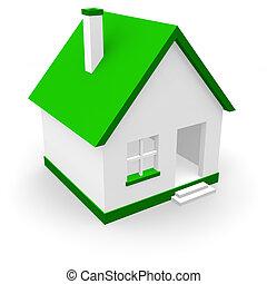 épület, noha, zöld, tető