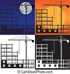 épület nyújtogat, construction., emelés, alatt