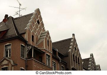 épület, oromzat, öreg, tető