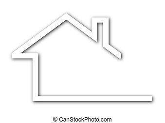 épület, oromzat, -, tető, jel