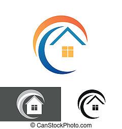 épület, otthon, jel, ikon