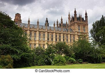 épület parlament, vagy, westminster palace, alatt, london., egy, királyi palace, kap, , képben látható, a, házhely, helyett, mindenfelé, 1000, év