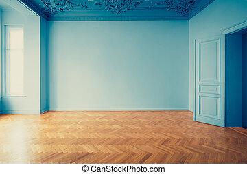 épület, plafon, szoba, öreg, szoba, emelet, fogalom, szüret, -, helyreállítás, történelmi, üres, parketta, belső, stukkó, restaurálás, néz