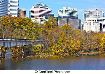 épület, potomac, modern, folyó