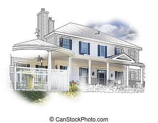 épület, rajz, és, fénykép, kombináció, white