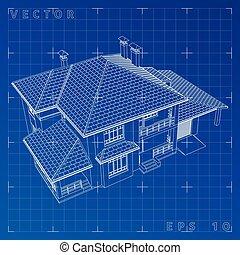 Épület,  render, Kivonat,  wireframe,  -, Ábra, vektor, 3