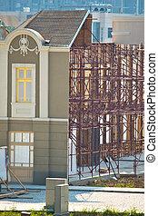 épület, restaurálás, öreg, betanul, alatt
