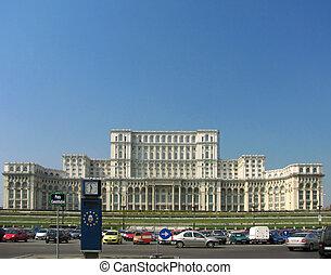 épület, románia, parlament, bucharest