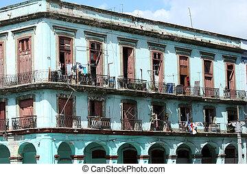 épület, romos, kuba