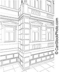 épület, sarok, tartózkodási, épület