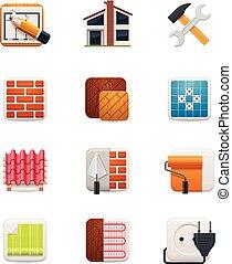 épület, set., 1, rész, helyreállítás, ikon