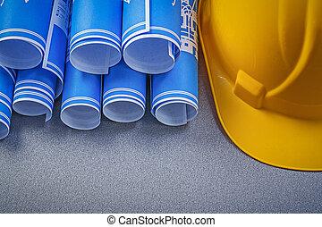 épület, sisak, alaprajzok, backgroun, tekercselt, kék, szürke, szerkesztés