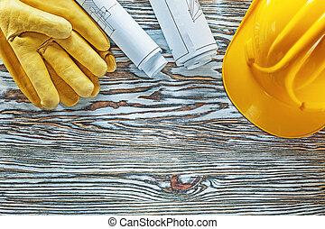épület, sisak, alaprajzok, tekercselt, vinta, szerkesztés, biztonság kesztyű