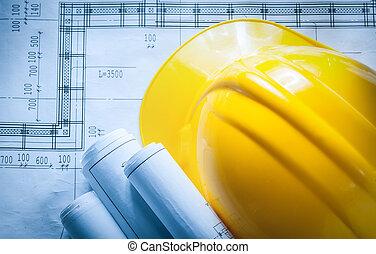 épület, sisak, alaprajzok, tervrajz, tekercselt, szerkesztés