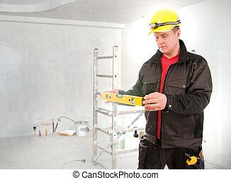 épület, sisak, eljárás, munkás, szállító, tervezés