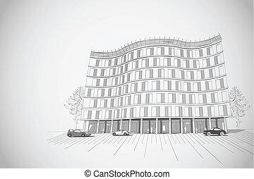 épület, sokemeletes, építészeti, háttér