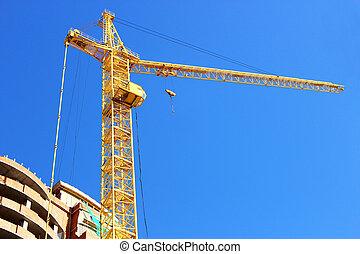 épület, sokemeletes, szerkesztés, alatt, daru, construction.