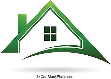 épület, swoosh., vektor, zöld, ikon
