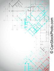épület, szürke háttér, építészeti, alaprajzok