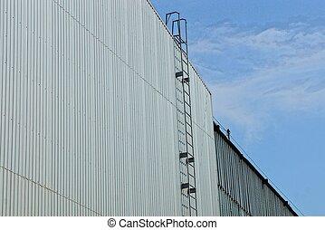 épület, szürke, ipari, lépcsőház, fal, ég, fém, hosszú, ellen, vas