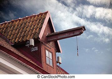 épület szerkesztés, öreg, emelés, tető