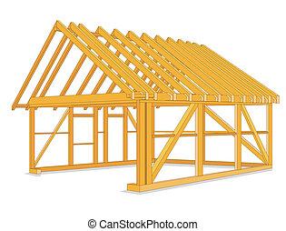 épület, szerkesztés, faanyag
