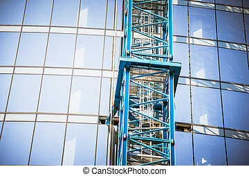 épület szerkesztés, közel, felhőkarcoló
