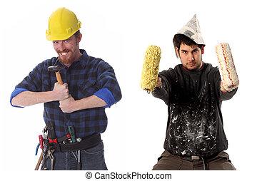 épület szerkesztés, munkás, szobafestő