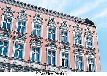 épület, szoba, öreg, helyreállított, épület, épülethomlokzat, külső