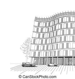 épület, szoba, hivatal, modern, vektor, háttér, sokemeletes, vagy
