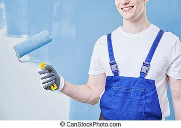 épület szobafestő, boldog