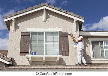 épület szobafestő, festmény, a, rendes, és, zsalu, közül, otthon
