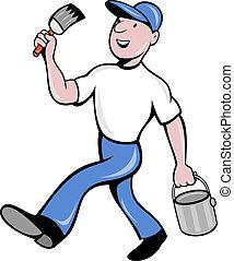 épület szobafestő, konzerv, ecset, festék