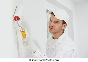 épület szobafestő, munkában