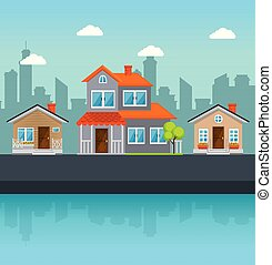 épület, szomszédság, színes