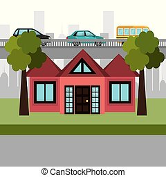 épület, szomszédság, színhely