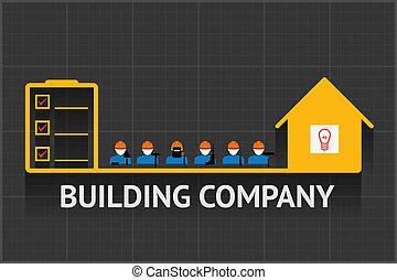 épület, társaság, embléma
