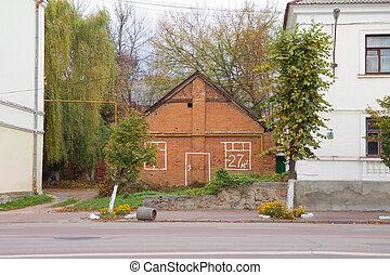 épület, tégla, öreg, kiárusítás, piros