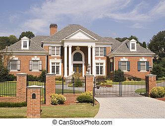 épület, tégla, vas, kerítés