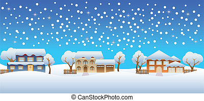 épület, tél, hó
